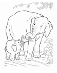 Baby Elephant Coloring Book Page