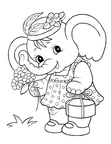 Cute Elephant Coloring Book Page