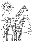 Giraffe Coloring Book Page