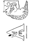 A Alligator Animal Alphabet Coloring Book Page
