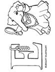 E Elephant Animal Alphabet Coloring Book Page