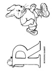 R Rabbit Animal Alphabet Coloring Book Page