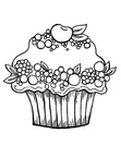 Cakes / Cupcake Coloring Book Page