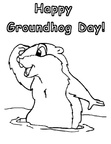 Groundhog Day Coloring Book Page