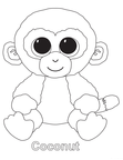 Coconut Monkey Beanie Boo Coloring Book Page