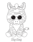 Zig-Zag Zebra Beanie Boo Coloring Book Page