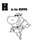 Hippopotamus Hippo Craft and Activities Coloring Book Page