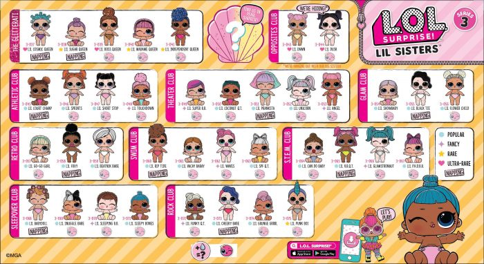 LOL Surprise Lil Sisters Series 3 Checklist List Collector Guide