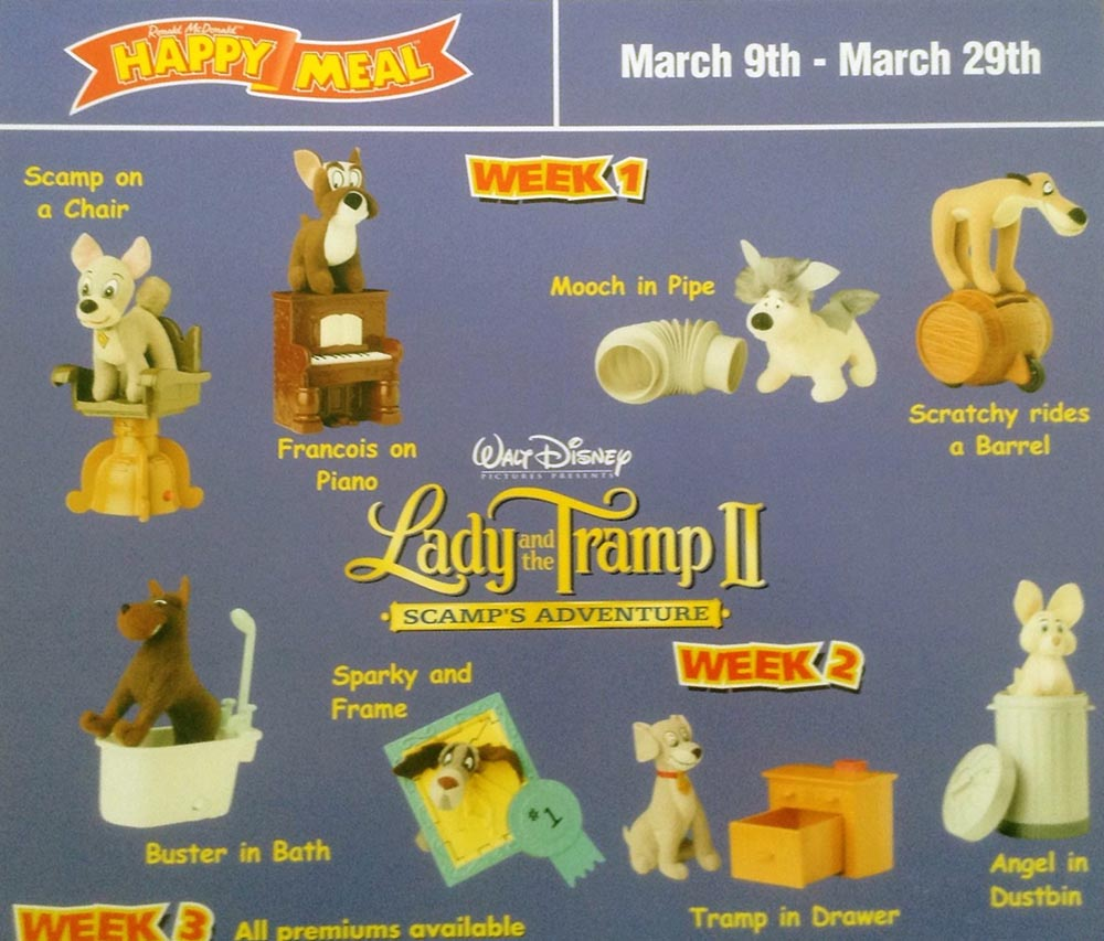 Mcdonald S Happy Meal Toys 2001 Lady And The Tramp Ii Scamp S Adventure Kids Time