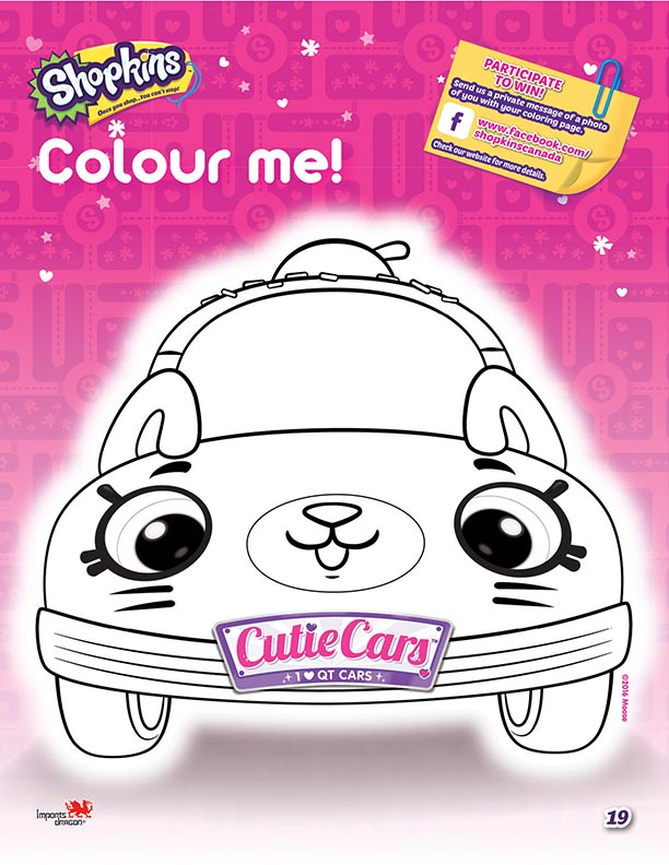 Cutie Cars Shopkins Coloring Sheet 1 Kids Time
