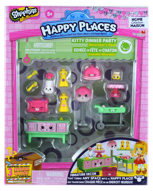 Shopkins Happy Places Season 1 - Kitty Dinner Party Decorator's Pack