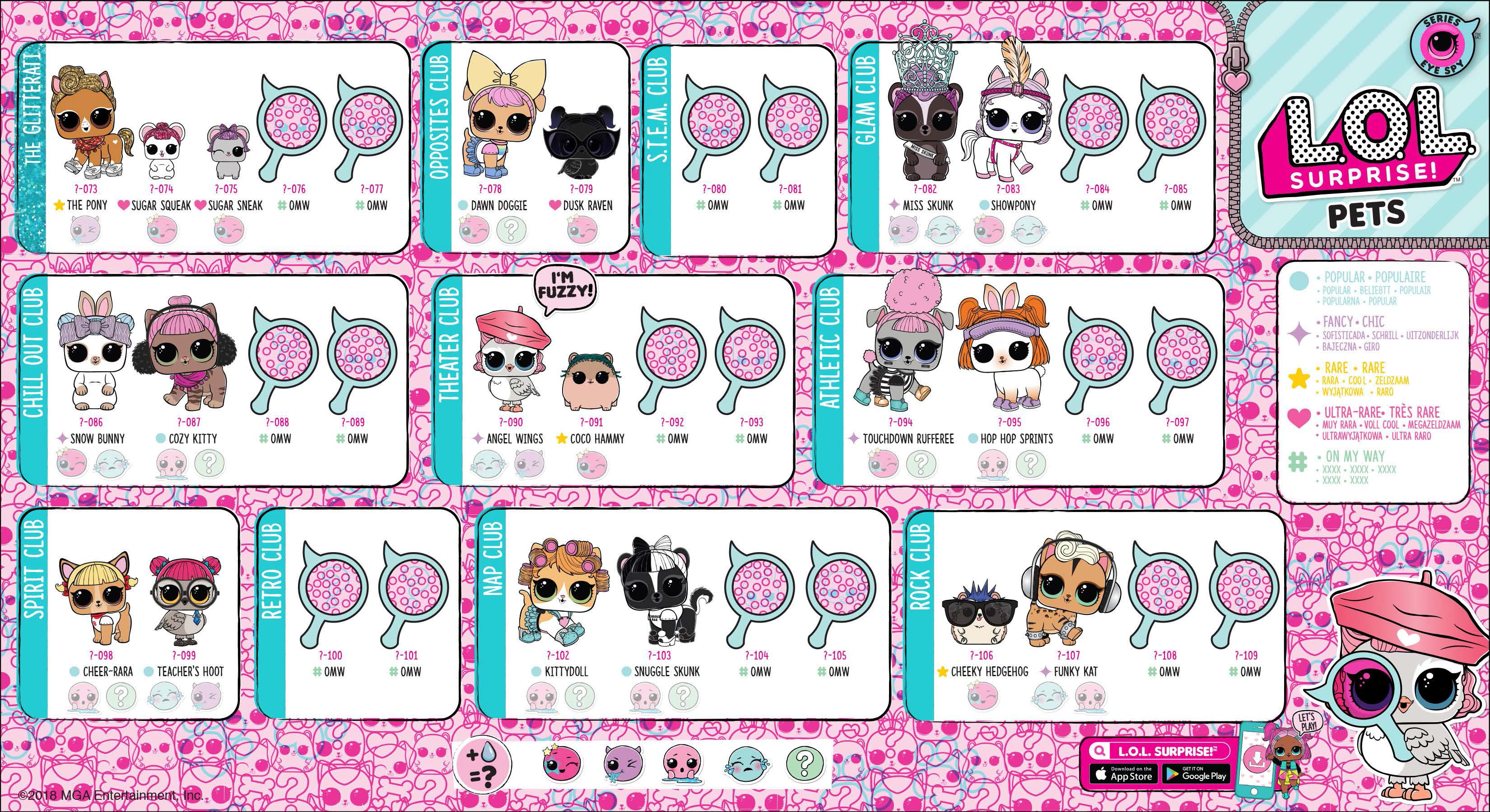 Full Size Lol Surprise Series 4 Eye Spy Pets Collector Guide List