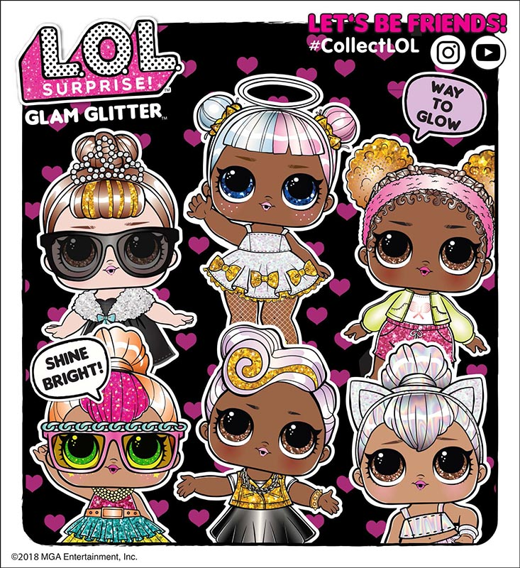L O L Surprise Glam Glitter Series List Of Characters Checklist Kids Time