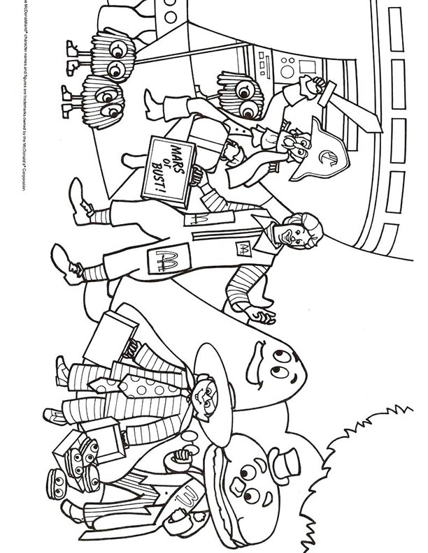 Mcdonalds Happy Meal Coloring Page And Activities Sheet Ronald Mcdonald And Gang Kids Time