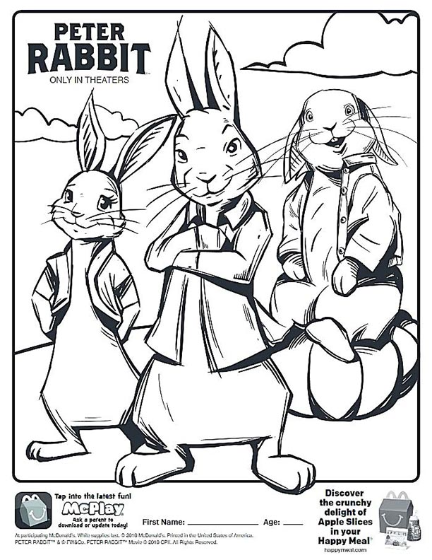 - McDonalds Happy Meal Coloring Page And Activities Sheet – Peter Rabbit –  Kids Time
