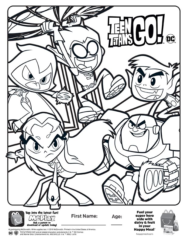 McDonalds Happy Meal Coloring Sheet – Teen Titans Go! – Kids ...