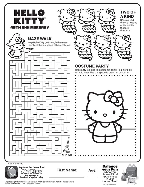 Hello Kitty 2019 Mcdonalds Happy Meal Coloring Activities Sheet Kids Time