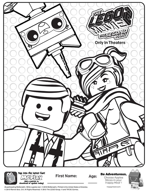 - McDonalds Happy Meal Coloring Sheet – Lego Movie 2 – Kids Time