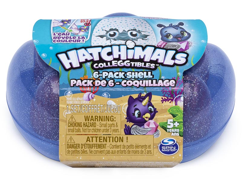 Hatchimals CollEGGtibles, Mermal Magic 6 Pack Shell Carrying Case with Season 5 Hatchimals CollEGGtibles