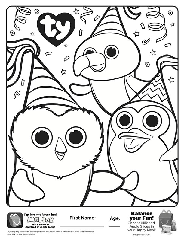 McDonalds Happy Meal Coloring Sheet – Beanie Boos 40th Birthday Party –  Kids Time