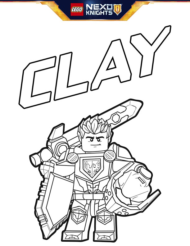 Lego Nexo Knights Coloring Sheet Page Shield Clay Kids Time