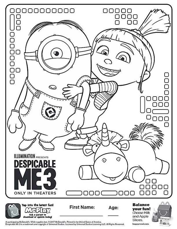 McDonalds Happy Meal Coloring And Activities Sheet – Despicable Me 3 Connec  The Dots – Kids Time