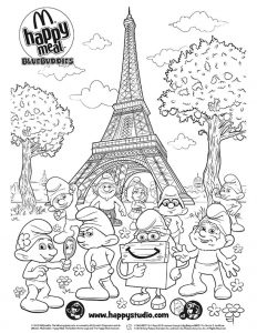 smurfs-eiffel-tower_mcdonalds-happy-meal-coloring-activities-sheet